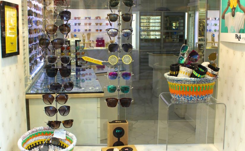 Our baskets and Pala sunglasses, on display in Capri